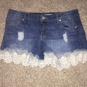 Altard State jean shorts with lace detailing